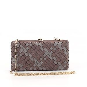 Deux Lux Gray & Brown Woven Clutch with Strap